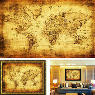FD3190 Vintage Style Retro Cloth Poster Globe Old World Nautical Map Poster ♫