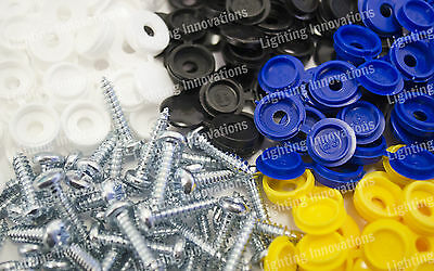128 Number Plate Car Fixing Fitting Kit Hinge Yellow Black Blue White Cap Screws