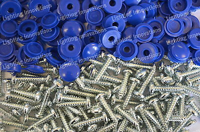 500 x NUMBER PLATE CAR FIXING FITTING KIT HINGE CAPS SCREWS BLUE HINGED CAPS
