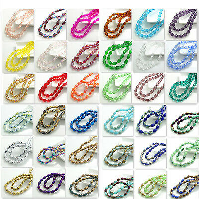 New color 40pcs Faceted Teardrop glass crystal Spacer beads 8x12mm 124colors