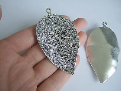 2 Large Tibetan Silver Tone Leaf Charms Pendants For Jewellery Making 73x40mm