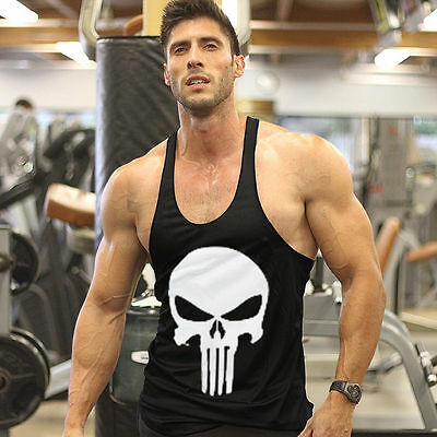 Gym Punisher Skull Stringer Vest Mens Muscle Tops Fitness Bodybuilding Tank Top