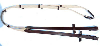 Stubben German Leather Traditional Cotton Web Continental Reins Hand Stop 3/4""