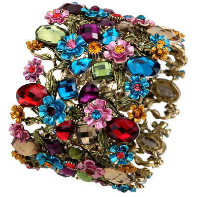 Flower stretch cuff bracelet antique gold silver plated bling jewelry QF28