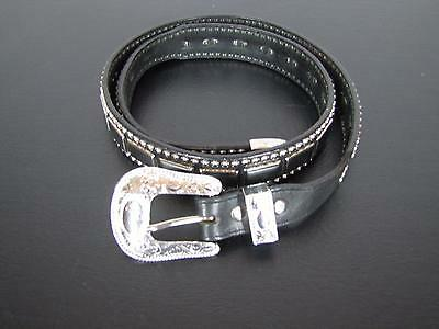 Nadim Genuine Leather Black Silver Buckle Western Belt 36