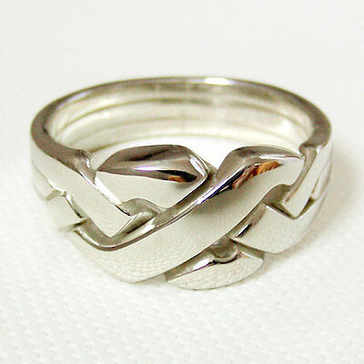 (THREESOME) Unique Puzzle Rings - Sterling Silver - Any Size