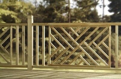 Wooden Green Pressure Treated Cross Hatch Decking Panel Contemporary Design