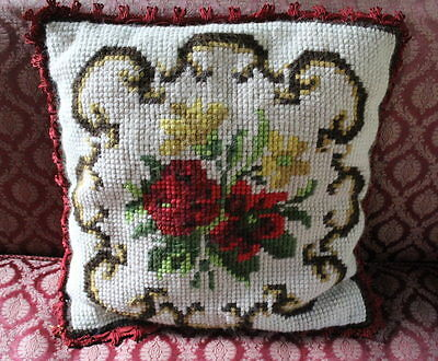 Vintage French Floral Needlework  Woolwork Cushion