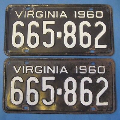 1960 Virginia License Plates matched pair