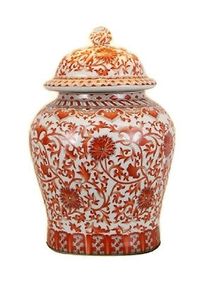 Beautiful Orange/Coral And White Porcelain Chinoiserie Temple Jar 13""