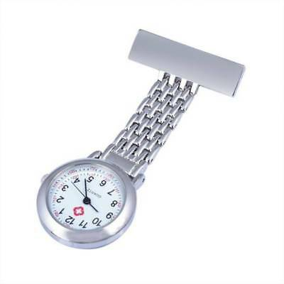 Stainless Steel Nurse Watch Silver Quartz Fob Pocket Brooch + FREE 2 BATTERIES