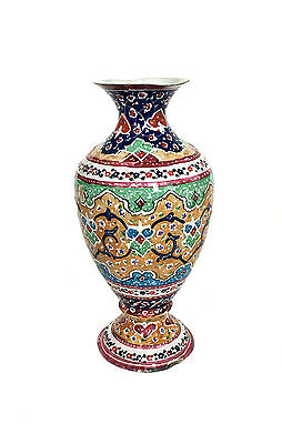 PERSIAN MINA-KARI Hand Enamel Painted Detailed Design Polychrome Metal Vase