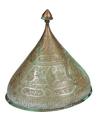 Antique Indo Persian Tinned Copper Helmet. Size 10 1/4 inches high x 9 1/2 inche
