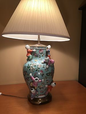 UNIQUE Antique ceramic ginger jar lamp with Japanese figurines ONE-OF-A-KIND