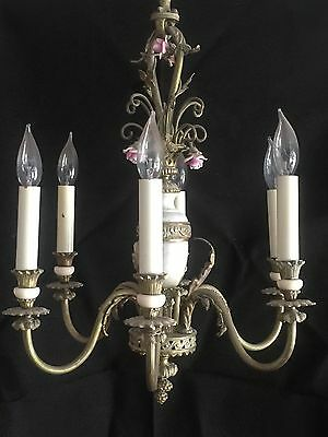 Antique chandelier brass and alabaster FRENCH, working condition.