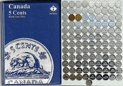 1922~2018 CANADA 107 x 5¢ Nickels in Album All Years except 1925, 26 -No Doubles