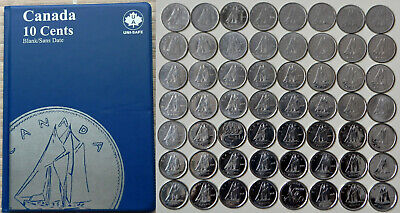 1968~2019 CANADA Collection of 55 x 10¢ dimes in Album - All Years, Varieties