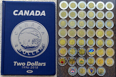 1996~2019 CANADA Full collection of 39 x 2$ Toons in Album including Colored 2$s