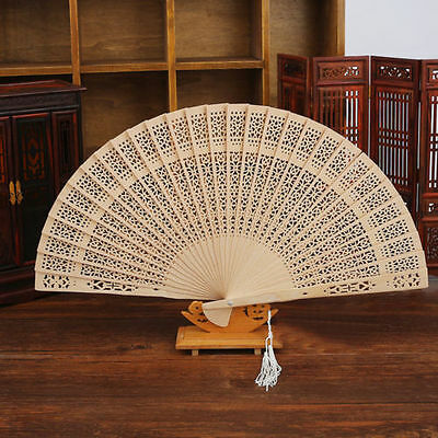 Chinese Vintage Wooden Bamboo Folding Hand Fan Wedding Party Flower Pattern UK