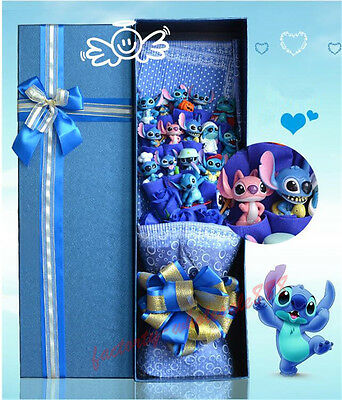 New!Bunch of 16 Lio Stitch Dolls Toys + 9pcs Soap S flowers Creative Gift Box