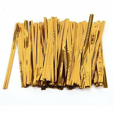 100 Pcs Gold Metallic Twist Ties for Cello Candy Bags Party 8cm SS
