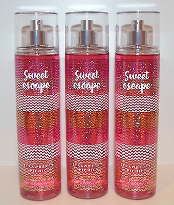 3 Bath & Body Works Sweet Escape Strawberry Picnic Fine Fragrance Mist Spray Lot
