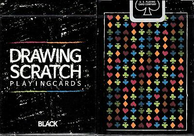 Drawing Scratch Black Playing Cards Poker Size Deck USPCC Custom Limited Sealed