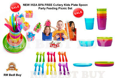 Ikea 36 Plastic Bpa Free Cutlery Kids Plate Spoon Party Gift Feeding Picnic Set