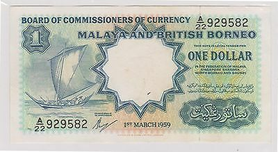 (WV-22) 1959 Malaya &British Borneo $1 bank note