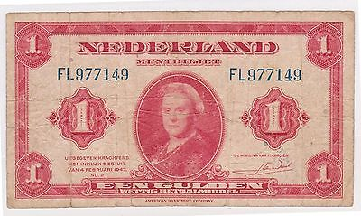 (WV-161) 1943 Netherlands 1 GULDEN Bank note (A)