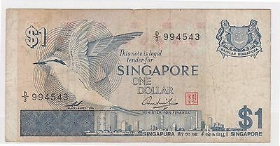 (WV-157) 1967 Singapore $1 Bank note (M)