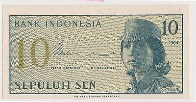 (WV-132) 1964 Indonesia 10 SEN bank note (G)