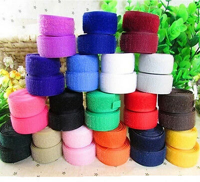 25mm Width Black White Colorful Sew on Hook and Loop Tape