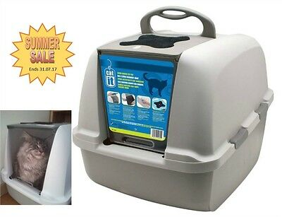Extra Large Hooded Cat Litter Box Carbon Filter Big Breed Cats Toilet H:46.5cm • EUR 38,13