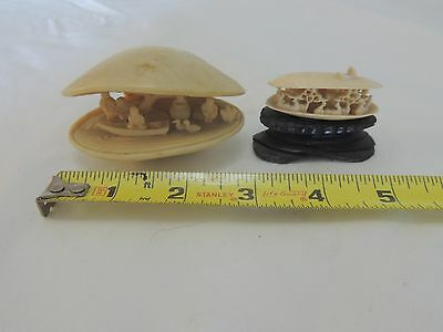 Japanese carved clam shell anabori diorama