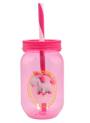 Despicable Me Unicorn Tritan Canning Jar Tumbler With Straw New Cup Minions