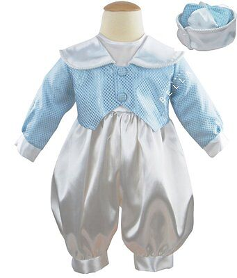 Baby Boys White Blue Christening Wedding Romper Outfit Suit