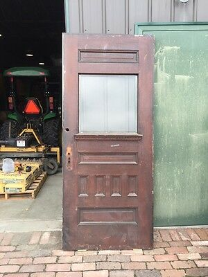D 220 Antique Quartersawn Oak Beveled Glass Entrance Door