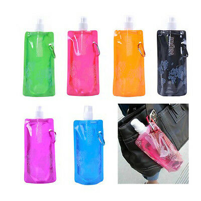 1pc 0.5L Portable Foldable Freezable Water Bottle Bag With Hook Hiking Cycling