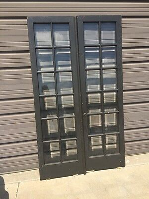 D 229 One Pair Antique All Beveled  Glass 48 Inch French Doors
