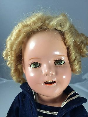 """Antique Composition 13"""" Ideal Shirley Temple Captain January Tagged"""
