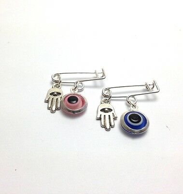 Lucky evil eye safety pin - protection for baby - design no 2