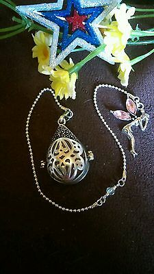 Hot .925 Stirling Silver Teardrop Locking Chamber Pendulum W/ Rose Quartz Reiki