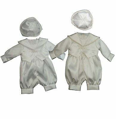 Baby Boys Plain  White or Ivory Christening Wedding Romper Outfit Suit