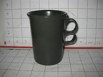 Bennington Pottery Vermont Trigger Handle Finger Holes Coffee Mug Cup Green Grey