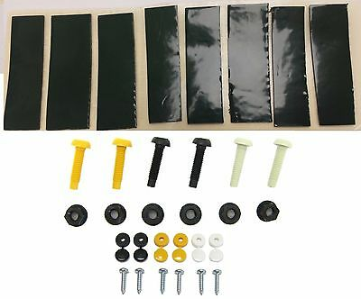 Number Plate Fixing Kit Fitting Set for Cars Motorbikes Screws 10 Sticky pads wo