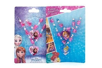Disney Character Necklace & Bracelet Set - Frozen Or Princess - X1 Set Supplied