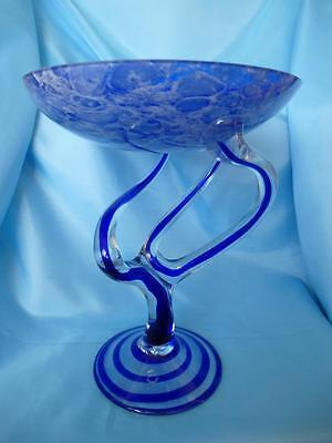 """Cobalt Blue Glass Spiral Compote Tall 10 1/2"""" Cello Great Centrepiece"""