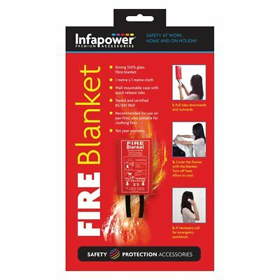 1m Wall Mountable Glass Fibre Certified Fire Blanket By Infapower (X012)