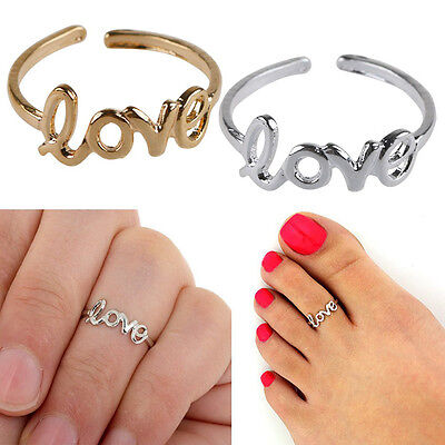 Silver Gold Coloured Love Letters Toe Thumb Finger Ring Adjustable Size E and Up